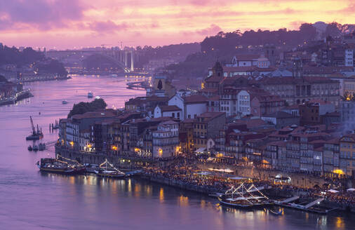 View over Porto and river Douro at dusk, Portugal - FCF01795