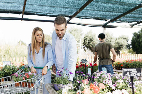 Spain, Tarragona. A couple buying flowers in a garden center for their house - JRFF03442