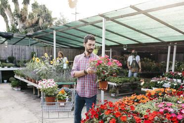 Customer of a garden center choosing a flower - JRFF03508