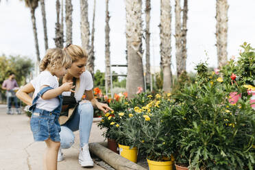 Female worker of a garden center showing flowers to a little girl - JRFF03529