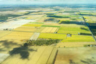 Aerial view of green cultivated fields and farms in Queensland, Australia - GEMF03004