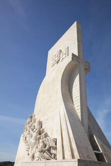 Low angle view of Monument to the Discoveries in Lisbon, Portugal - WIF03969