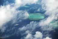 Aerial view of yacht in sea at Maldives - CVF01415