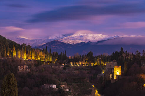 View of Alhambra with Sierra Nevada in the background at sunset, Granada, Spain - TAMF01876