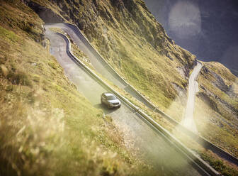 Sports Utility Vehicle on high alpine road, Timmelsjoch, Tyrol, Austria - CVF01424