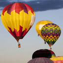 Hot air balloons floating in blue sky - BLEF13086