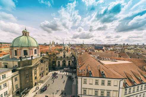 View to Church of St Salvator, Church of St Francis and Charles Bridge Museum, Prague, Czech Republic - TAMF01942