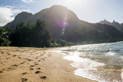 Footprints on sand near waves on tropical beach - BLEF13417