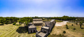 Aerial view of Santa Maria a Cerrate against clear blue sky during sunny day, Lecce, Italy - AMF07226