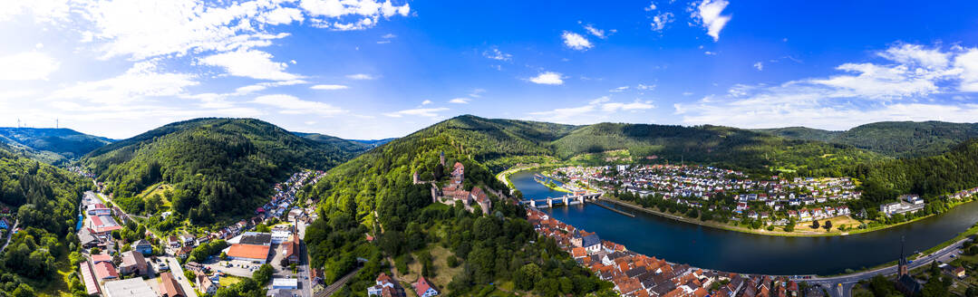 Aerial view of Neckar River against sky in town, Hesse, Germany - AMF07241