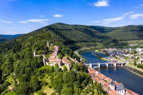 Aerial view of Zwingenberg Castle on mountain by Neckar River, Hesse, Germany - AMF07244