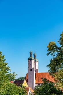 Exterior of St. Nikolaus Parish Church against clear blue sky at Bavaria, Germany - SPCF00434