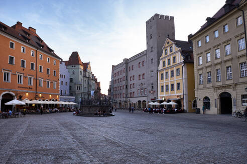 Town square amidst buildings against sky in city, Regensburg, Germany - ELF02050