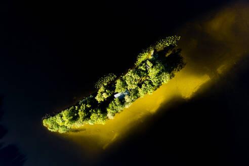 Drone view of island amidst lake in Bavaria, Germany - LHF00668