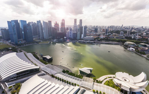 Singapore, Singapore, Skyline Financial District and Marina Bay - HSIF00738