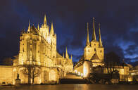 Illuminated churches against cloudy sky in Erfurt at night, Germany - GWF06185