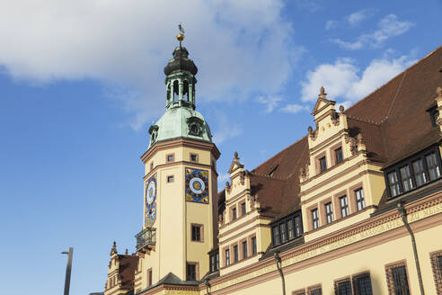 Low angle view of Town Hall Tower against blue sky in Leipzig during sunny day, Saxony, Germany - GWF06198