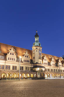 Low angle view of Town Hall Tower against clear blue sky in Leipzig at dusk, Germany - GWF06210