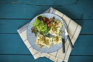 Maultaschen mit gerösteten Zwiebeln, Käse, Salat und Tomaten, Studio - MAEF12903