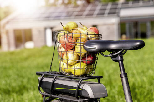 Wire basket with apples on bicycle rack with house in background - FMKF05821