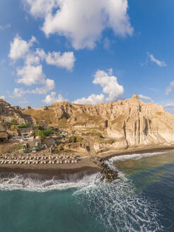 Aerial view of beach with rock formation on Santorini island, Greece - AAEF00152