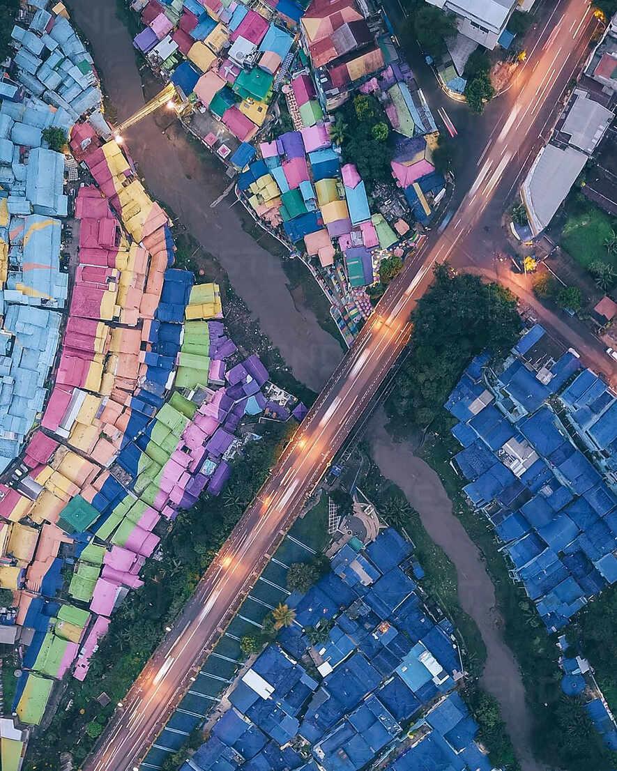 Aerial View Of The Rainbow Village Named Kampung Warna Warni Jodipan In Malang City Of Java