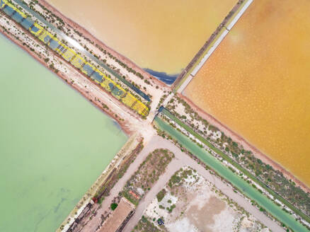 Aerial abstract view of colourful saline lakes, Cagliari, Sardinia - AAEF00734