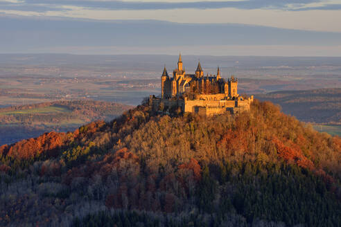 Hohenzollern Castle on mountain against sky at Germany - RUEF02313