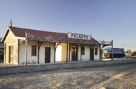 Old train station against clear sky. Palapye, Botswana - VEGF00441
