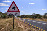 Warthog crossing sign by road against sky, Mpumalanga, South Africa - VEGF00447