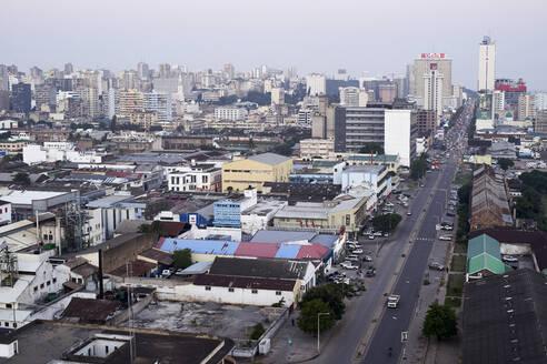 Drone view of Baixa neighborhood, Maputo, Mozambique - VEGF00468