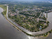 Aerial view of Neva river in town during sunny day, Shlisselburg, Russia - KNTF02982
