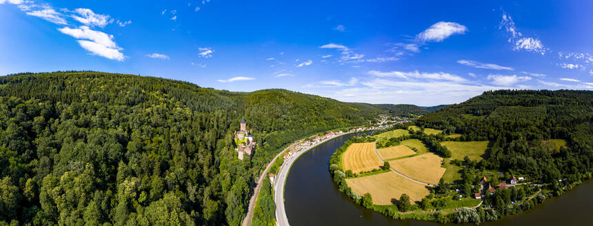 Aerial view of Zwingenberg Castle on mountain by Neckar River, Hesse, Germany - AMF07249