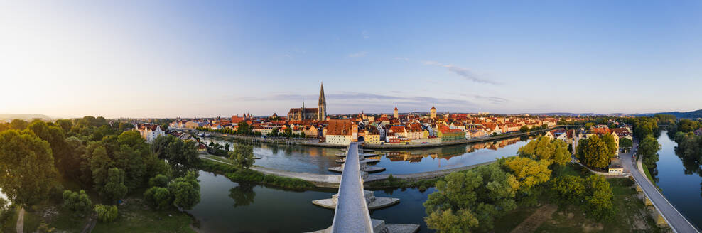 Panoramic shot Stone Bridge over Danube river in Regensburg, Bavaria, Germany - SIEF08855