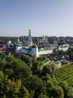 Trinity Lavra Of St. Sergius against clear sky in town, Moscow, Russia - KNTF03007
