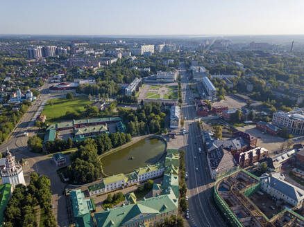 Aerial view of Sergiev Posad town against clear sky, Moscow, Russia - KNTF03026