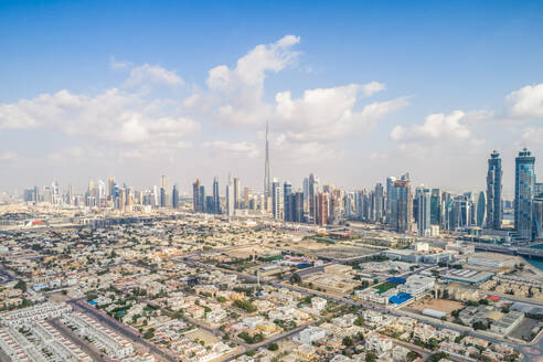 Panoramic aerial view of skyscrapers of Dubai, U.A.E. - AAEF01126