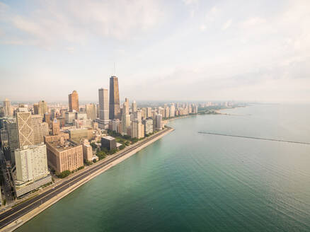 Aerial view of Chicago coastal line with Lake Michigan, USA - AAEF01240