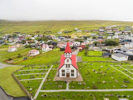 Aerial view of colorful church at a small city, Faroe island - AAEF01324