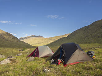 Tents on grassy land against blue sky during sunny day, Scotland, UK - HUSF00053