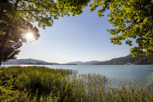 Scenic view of Woerthersee lake against clear sky during sunny day, Austria - DAWF00922