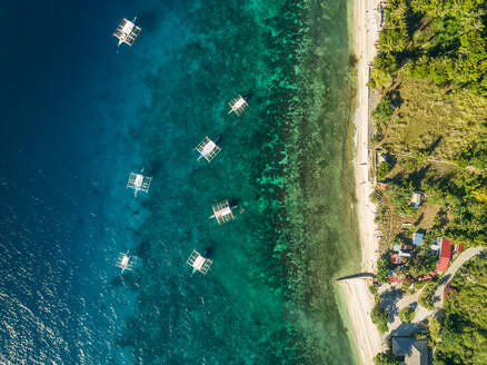 Aerial view of filipino boats and coastal road in Oslob, Philippines - AAEF01800