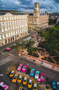Aerial view colourful old American taxi cars parked in Havana at dusk, La Habana, Cuba, West Indies, Caribbean, Central America - RHPLF00321