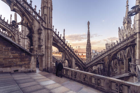 Duomo (Cathedral) in Milano from above before sunset, Milan, Lombardy, Italy, Europe - RHPLF00333