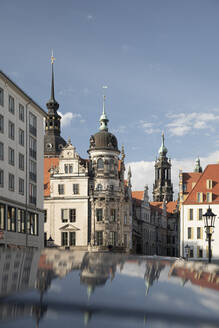 View of Residenzschloss against blue sky in Dresden, Saxony, Germany - CHPF00547
