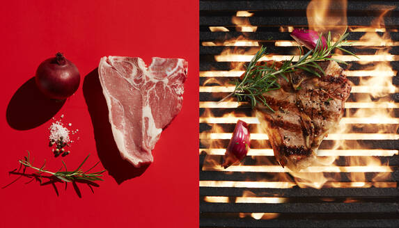 Directly above shot of steak grilling by ingredients on red background - KSWF02085