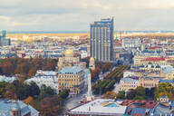 View of the city from above with The Freedom Monument and St Peter's Church, Riga, Latvia - TAM02088