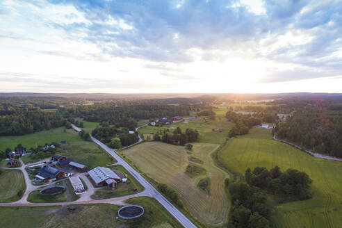 Aerial view of fields and road before sunset in summer, Vaestervik, Sweden - TAMF02151