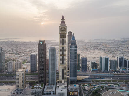 Aerial view of Al Yaqoub Tower with the sea in background In Dubai, UAE - AAEF02726