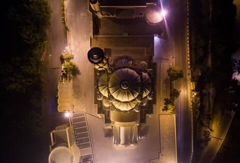 Aerial view of St Paul basilica illuminated at night, Harissa, Lebanon.l - AAEF02822